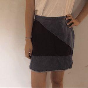 Multi-colored jean skirt